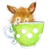 Peu de lapin et thé watercolor illustration libre de droits