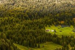 Peu de maison dans les grands bois Photographie stock