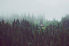 Peu de maison sur une pente de montagne verte Photos libres de droits