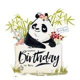 Peu de panda d'anniversaire illustration libre de droits