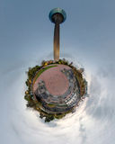 Peu de panorama de planète de Dusseldorf Photo stock