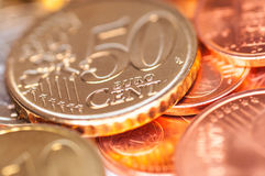 Peu de pièces de monnaie d'euro Photos libres de droits