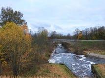 Peu de pont par de petits arbres de rivière et d'automne, Lithuanie Photos libres de droits