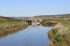 Peu de pont sur la rivière de Qu'appelle Photo libre de droits