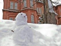 Peu de poupée d'homme de neige avec le bui de vintage de visage curieux et de brique rouge Image stock