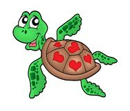 Peu de tortue de mer avec des coeurs Image stock