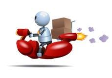 Peu de vélo d'équitation de robot livrant la boîte illustration stock