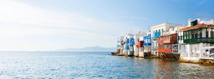 Peu de Venise sur l'île de Mykonos, Grèce image stock