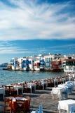 Peu de voisinage de Venise le long du rivage de Mykonos photographie stock libre de droits