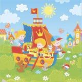 Peu enfants jouant sur un bateau de jouet illustration stock