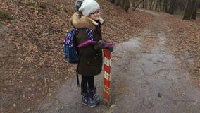 Peu fille avec le sac à dos et dossier sur le chemin de parc près de l'école banque de vidéos