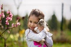 Peu fille jouant avec le lapin blanc en parc un été ensoleillé images stock