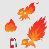 Peu Fox curieux du feu illustration de vecteur