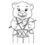 Peu garçon d'ours jouant le tambour illustration de vecteur