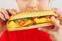 Peu garçon drôle mangeant un grand cheeseburger sur la fin blanche de fond  photos stock