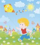 Peu garçon jouant avec un cerf-volant illustration libre de droits