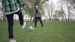 Peu gar?on jouant au football ou au football avec son p?re ou grand-p?re en parc L'enfant essayant de prendre la boule banque de vidéos