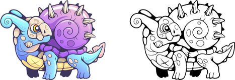 Peu illustration drôle de dragon mignon d'escargot illustration stock