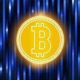 Peu-pièce de monnaie d'or de crypto abstraction de devise Concept de Bitcoin sur un fond bleu abstrait Matrice de Digital de Photos libres de droits