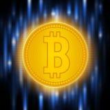 Peu-pièce de monnaie d'or de crypto abstraction de devise Concept de Bitcoin sur un fond bleu abstrait Matrice de Digital de Photographie stock