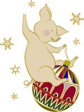 Peu porc gai joue avec la décoration d'arbre de Noël, illustration de Noël illustration stock