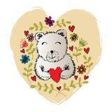 Peu précis de l'ours tenant la forme de coeur avec le ressort et l'été fleurit illustration libre de droits