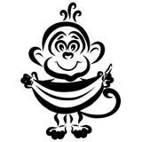 Peu singe mignon tient une grande banane, festin illustration libre de droits
