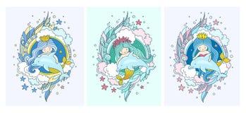 Peu sirènes de princesse de kawaii, dauphins, poissons illustration de vecteur