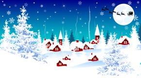 Peu village le réveillon de Noël illustration de vecteur