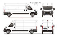 Peugeot σχεδιάγραμμα φορτηγών παράδοσης φορτίου μπόξερ 2017 L3H2 Στοκ Εικόνα