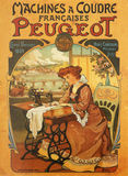 Peugeot. Vintage advertisement for Peugeot on a tin plate. Peugeot - nowadays a  French car manufacturer - used to make sewing machines at the end of 19th Royalty Free Stock Photos