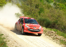 Peugeot 207  rally car. Volkan Isik of Turkey with Unal Tezel(co-pilote) drives his Peugeot 207 during the sixth stage of the 2010 San Crispino Rally  in Gubbio Stock Image