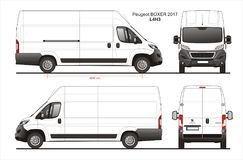 Peugeot Boxer Cargo Delivery Van 2017 L4H3 Blueprint. Peugeot Boxer Cargo Delivery Van 2017 L4H3 Scale 1:10 detailed template in AI Format Stock Image