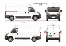 Peugeot Boxer Cargo Delivery Van 2017 L2H2 Blueprint. Peugeot Boxer Cargo Delivery Van 2017 L2H2 Scale 1:10 detailed template in AI Format vector illustration