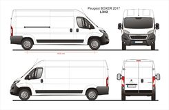 Peugeot Boxer Cargo Delivery Van 2017 L3H2 Blueprint. Peugeot Boxer Cargo Delivery Van 2017 L3H2 Scale 1:10 detailed template in AI Format royalty free illustration
