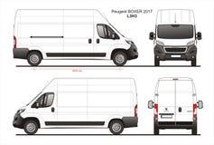 Peugeot Boxer Cargo Delivery Van 2017 L3H3 Blueprint stock illustration
