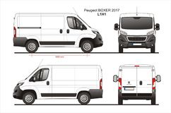 Peugeot Boxer Cargo Delivery Van 2017 L1H1 Blueprint. Peugeot Boxer Cargo Delivery Van 2017 L1H1 Scale 1:10 detailed template in AI Format stock illustration