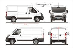 Peugeot Boxer Cargo Delivery Van 2017 L1H1 Blueprint stock illustration