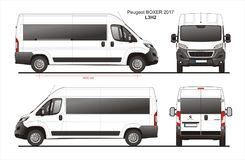 Peugeot Boxer Passenger Van 2017 L3H2 Blueprint royalty free illustration