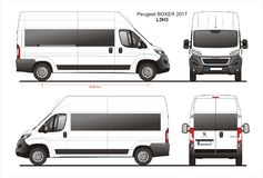 Peugeot Boxer Passenger Van 2017 L3H3 Blueprint. Peugeot Boxer Passenger Van 2017 L3H3 Scale 1:10 detailed template in AI Format Royalty Free Stock Photography