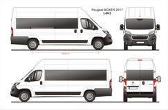 Peugeot Boxer Passenger Van 2017 L4H3 Blueprint stock illustration