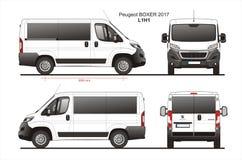 Peugeot Boxer Passenger Van 2017 L1H1 Blueprint royalty free illustration