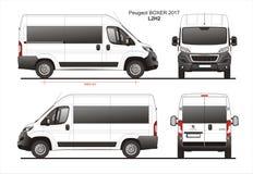 Peugeot Boxer Passenger Van 2017 L2H2 Blueprint vector illustration