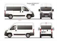 Peugeot Boxer Passenger Van 2017 L1H2 Blueprint. Peugeot Boxer Passenger Van 2017 L1H2 Scale 1:10 detailed template in AI Format Royalty Free Stock Photography
