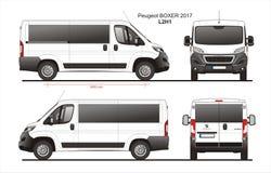 Peugeot Boxer Passenger Van 2017 L2H1 Blueprint. Peugeot Boxer Passenger Van 2017 L2H1 Scale 1:10 detailed template in AI Format Stock Photography