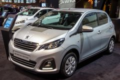 Peugeot 108 city car. BRUSSELS - JAN 12, 2016: Peugeot 108 Special Edition city car showcased at the Brussels Motor Show Stock Photos