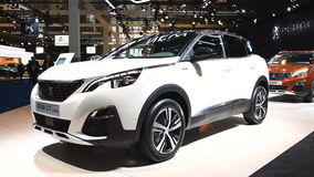Peugeot 3008 crossover SUV car. On display during the 2017 European Motor Show Brussels stock video