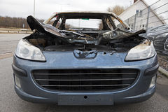 Peugeot destroyed by fire. Royalty Free Stock Images