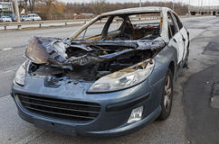 Peugeot destroyed by fire. Stock Images