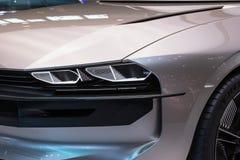 Peugeot e-Legend retro autonomous concept car. PARIS - OCT 2, 2018: Peugeot e-Legend retro autonomous concept car reveiled at the Paris Motor Show stock images
